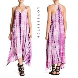 LOVE STITCH Tie-Dye Handkerchief Maxi Dress NWT